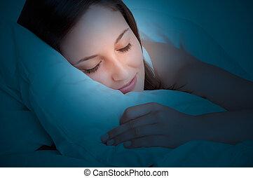 frau, eingeschlafen