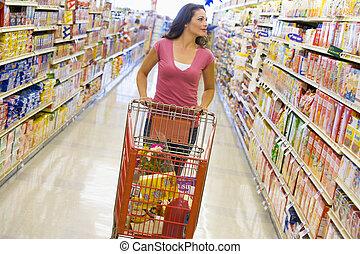 frau- einkaufen, an, a, lebensmittelgeschäft