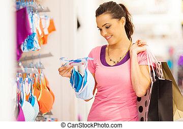 frau- einkaufen, für, unterwäsche