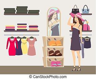 frau- einkaufen, kleiderladen, vektor, schwierig, hut