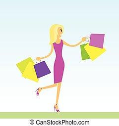 frau- einkaufen, säcke, gehen, blauer hintergrund, vektor, abbildung