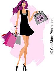 frau- einkaufen, säcke