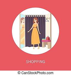 frau- einkaufen, zimmer, ändern, schwierig, kleiden