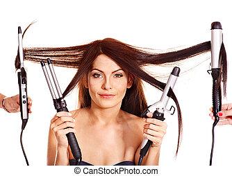 frau, eisschießen, besitz, eisen, hair.