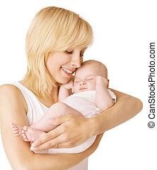 frau, elternteil, mutter, aus, hände, eingeschlafen, neugeborenes, schlaf, hintergrund, kind, weißes, kind, baby, glücklich