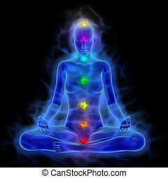 frau, energie, koerper, aura, chakras, in, meditation
