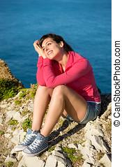 frau entspannung, auf, natur, übersommern tag