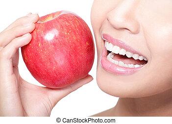 frau essen, apfel, junger, gesundheit, z�hne, rotes