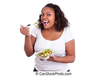 frau essen, salat, junger, amerikanische , afrikanisch