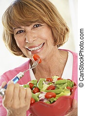 frau essen, salat, mitte, grün, frisch, antikisiert