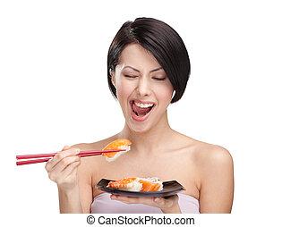 frau essen, sushiplatte, junger, eßstäbchen, attraktive