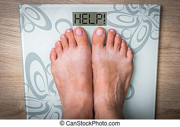 frau, füße, auf, a, skala, mit, wort, help!