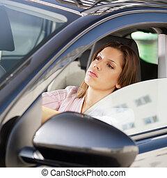 frau, fahren, auto