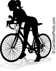 frau, fahrenden fahrrad, silhouette, radfahrer, fahrrad