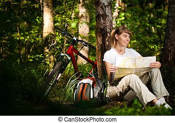 frau, fahrrad, junger, wald