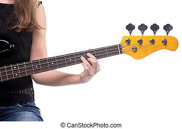 frau, finger, auf, baßgitarre