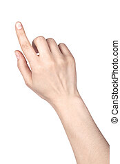 frau, finger, zeigt, oder, berühren