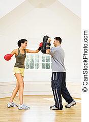 frau, fitness, boxen