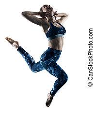frau, fitness, excercises, springende , silhouette