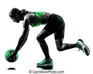 frau, fitness, medizinprodukt, kugel, übungen, silhouette
