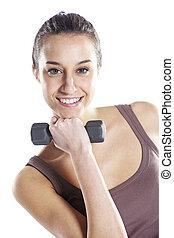 frau, fitness, mit, hanteln, freigestellt, weiß