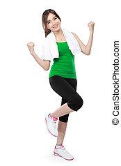 frau, fitness, modell, porträt