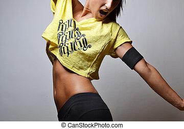 frau, fitness, schöne