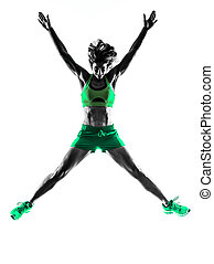 frau, fitness, springende , silhouette