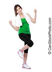 frau, fitness, streching