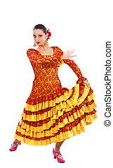 frau, flamenco tänzer