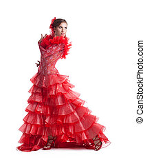 frau, flamenco tänzer, in, rotes , kostüm, freigestellt