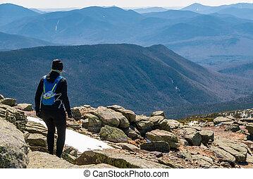 frau, folgen lauf, bergen