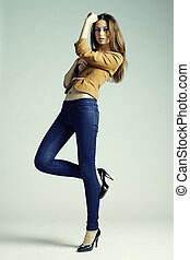 frau, foto, jeans, junger, mode, sinnlich