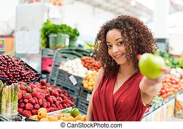 frau, früchte, shoppen