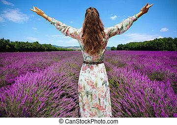 frau, frankreich, lavendel, jubel, modern, feld, provence