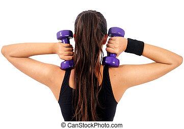 frau, freigestellt, fitness