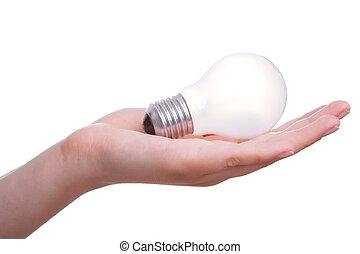 frau, freigestellt, hand, lampe, hintergrund, weißes, zwiebel