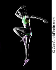 frau, freigestellt, trainieren, schwarzer hintergrund, fitness, übungen, effekt, lightpainting