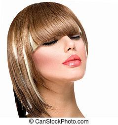 frau, frisur, mode, hair., haarschnitt, franse, kurz, schöne...