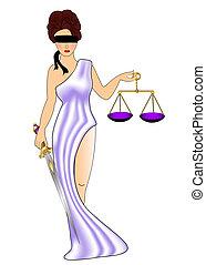 frau, göttin, von, der, gerechtigkeit, mit, gewicht, und,...