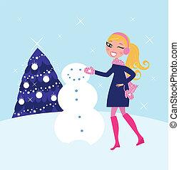 frau, gebäude, winter, weihnachten, schneemann