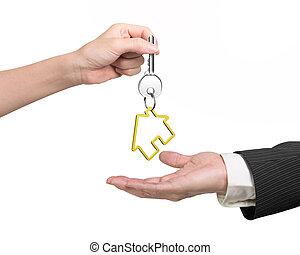 frau, geben, haus, keyring, hand, schlüssel, mann