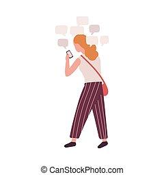frau, gebrauchend, m�dchen, medien, freigestellt, hintergrund., bote, online, weißes, addiction., wohnung, smartphone, bunte, sozial, psychiatrisch, besessenheit, karikatur, condition., illustration., vektor, behavioral, problem