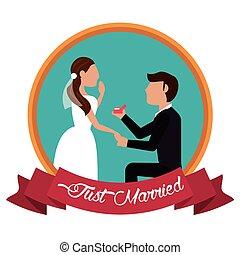 frau, geheiratet, etikett, vorschlagen, mann
