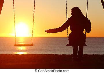 frau, geschieden, fehlend, ledig, alleine, oder, freund