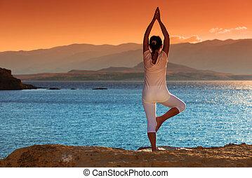 frau, gesunde, fitness, mitte, dehnen, draußen, antikisiert