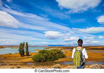 frau, gleichfalls, stehende , in, der, patagonian, pampas