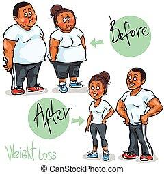 frau, goal., ihr, gewicht-verlust, erreichen, mann