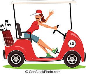 frau, golfen, fahren, karren