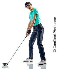 frau, golfspieler, golf, freigestellt